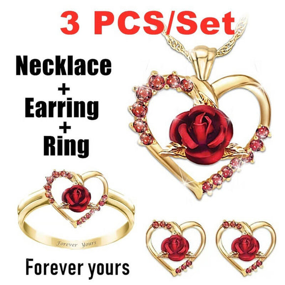 M Love Rose Necklace Earrings Rings 4 Pcs/set (COD)