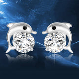 M S925 Silver Cute Dolphin Earrings (COD)