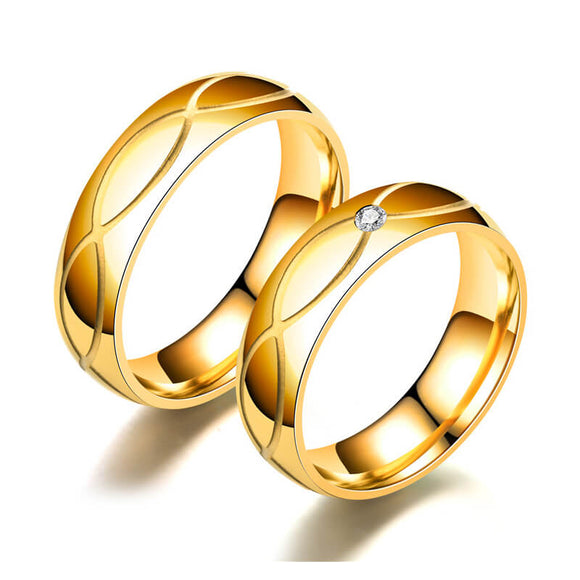 M 【Buy 1 Free 1】Creative Glossy Golden Titanium Steel Ring(COD)