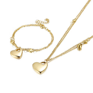 M European Gold-plated Love Necklace Bracelet 2Pcs/Set(COD)