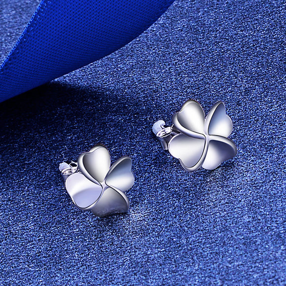 M S925 Sterling Silver Four-leaf Clover Earrings(COD)
