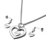 M Best Gift Jewelry Hollow Combination Double Heart LOVE Necklace + Earrings (COD)