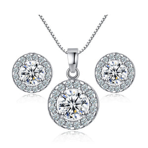 S925 Silver Shiny Zircon Necklace And Earring 3pcs/set (COD)