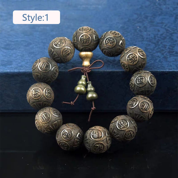 N Consecrated carved Buddhist beads bracelet male sandalwood brave bracelet(COD)