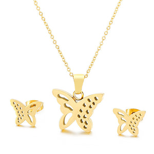 M Best Gift Jewelry Butterfly Titanium Steel Necklace + Earring Set(COD)