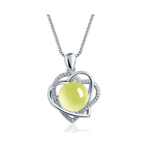 M S925 Silver Grape Crystal Heart Necklace (COD)