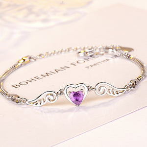 S Angel Wings Amethyst Bracelet(buy 1 free 1) (COD)