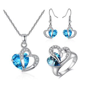 M S925 Silver Zircon Heart Necklace Earrings Ring 4 Pcs/Set (COD)