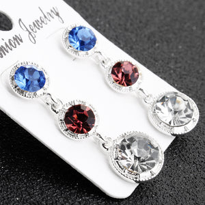 S Three Color Rhinestone Earrings (COD)