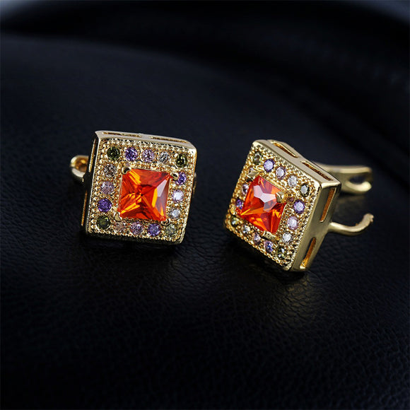 S Golden Colorful Zircon Inlaid Earrings (COD)