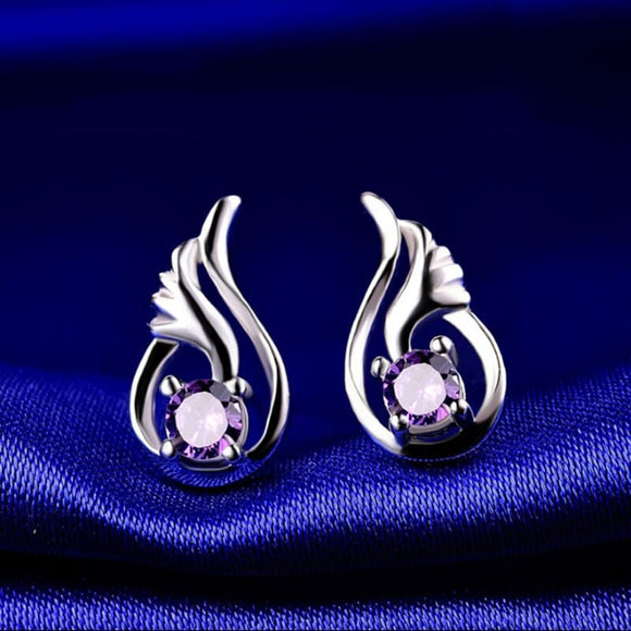 M S925 Sterling Silver Cubic Zirconia Angel Wing Stud Earrings (COD)