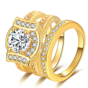 K (Buy 1 get 1 free) Double zircon ring(COD)