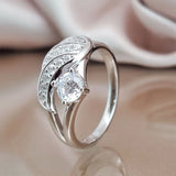 M Dazzling Cubic Zirconia Jewelry Romantic Feather Ring (COD)