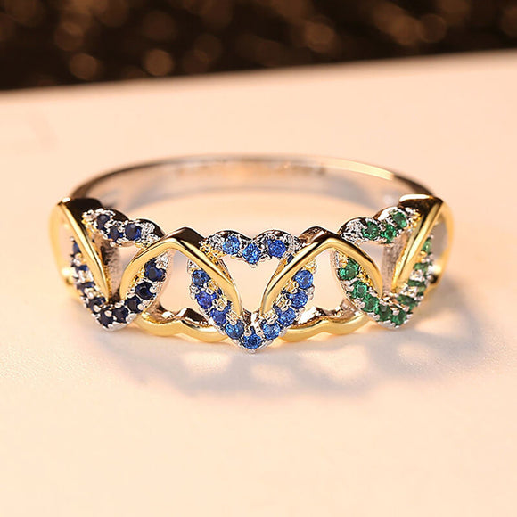 M S925 Silver Creative Colorful Winding Heart-shaped Love Ring (COD)