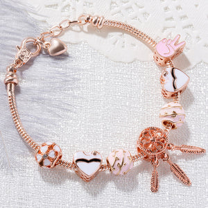 M Pink Heart-shaped Flower Ball Bracelet(COD)