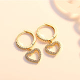 M Love Heart Micro-set Rhinestone Shiny Earrings (COD)