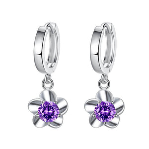 M S925 Sterling Silver Creative Plum Earrings(COD)