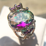 M Creative Colorful Egg Shaped Zircon Ring (COD)