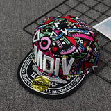 M Embroidery Totem Flat Edge Hip Hop Sun Hat(COD)