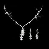 M Bright Rhinestone Necklace Earrings 3pcs/set (COD)
