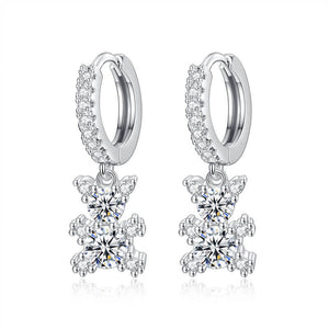 M S925 Silver Full Diamond Bear Earrings (COD)