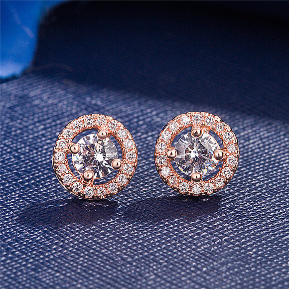 K Round full-set zircon ear studs(COD)