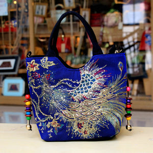 N 2020 New Bag Ethnic Embroidered Bag Canvas Peacock Embroidered Small Female Bag