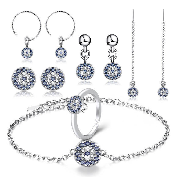 M Circle Blue Eyes Ring Earrings Ear-hook Ear-line Bracelet 10 Pcs/Set (COD)