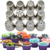 M FLOWER-SHAPED FROSTING NOZZLES (12-PCS SET)(COD) - Yinaje