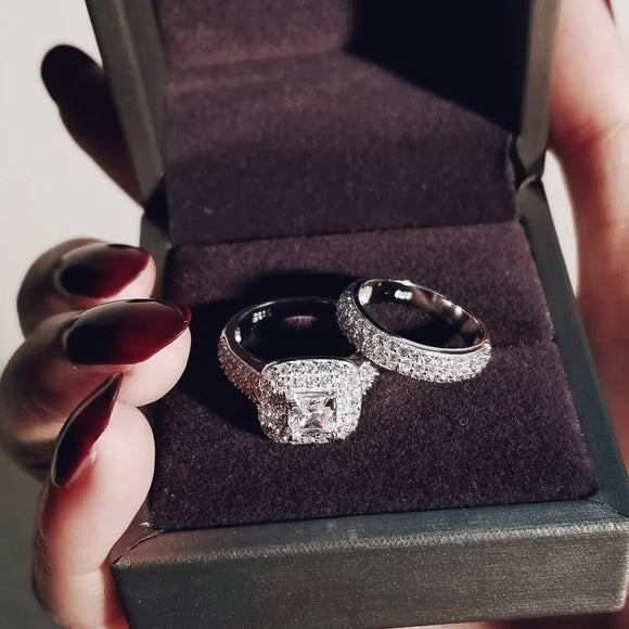 M Luxury 925 Silver Wedding Ring Set