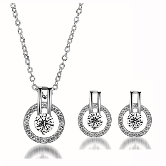 M Lover Eye Full Diamond Necklace Earring 3 pcs/Set (COD)