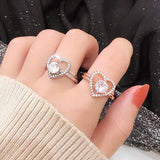 N Zircon micro-inlaid two-in-one love ring【Cash On Delivery】 - Yinaje