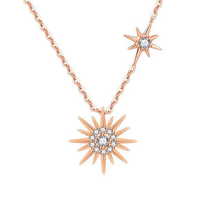 M S925 Silver Rose Gold Sun Necklace(COD) - Yinaje