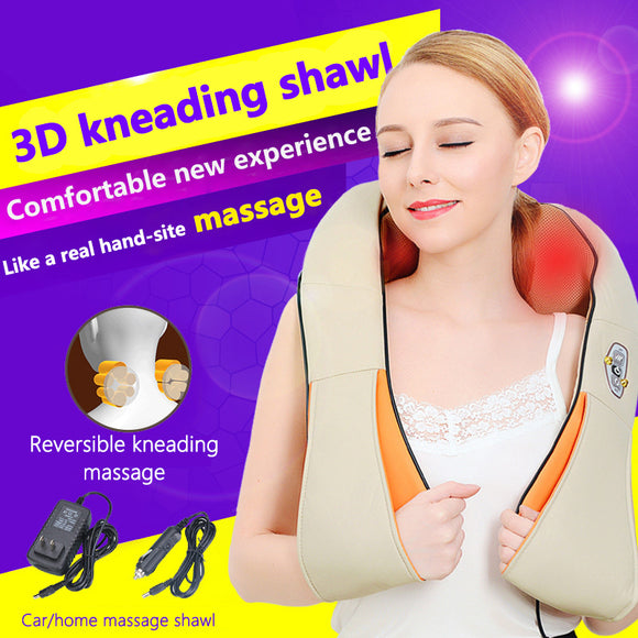 M Portable Electric Massager Pillow 3D Neck Shoulder Back Foot Massage Tools 【Cash on delivery】 - Yinaje