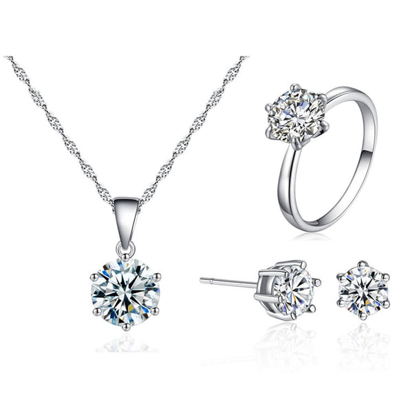 M S925 Pure Silver Diamond Zircon Earrings Necklaces Rings 3 Sets 【Cash On Delivery】 - Yinaje