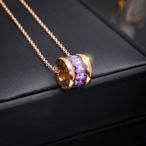 M Cylinder Crystal Shiny Rose Gold Necklace(COD) - Yinaje