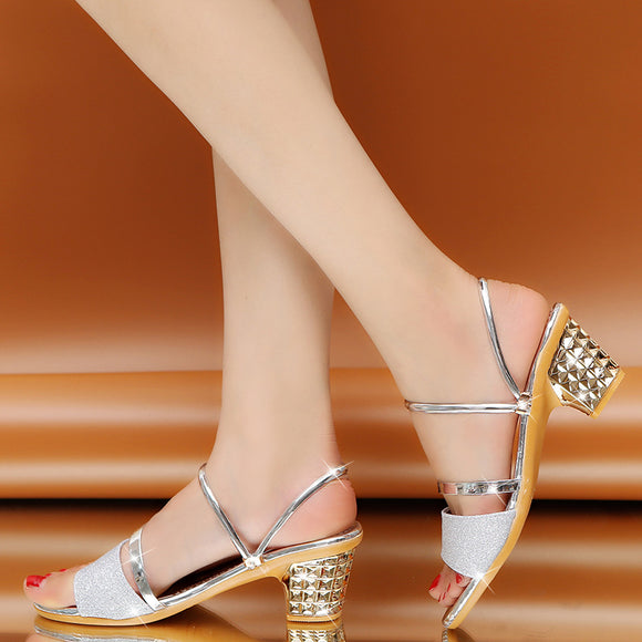 M Fashion Versatile Thick High Heel Non-slip Sandals【Cash on delivery】 - Yinaje