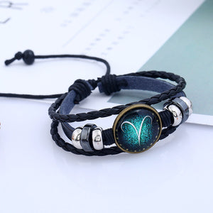 M SUN SIGN CONSTELLATION LEATHER ZODIAC BRACELET【Cash on delivery】 - Yinaje