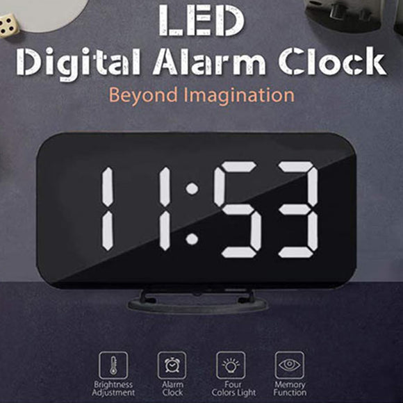M New Creative Mobile Phone Charging LED Mirror Electronic Snooze Alarm Clock【Cash on delivery】 - Yinaje