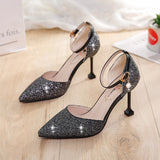 M Korea Sequined Gold Pointed Toe High Heels(COD) - Yinaje