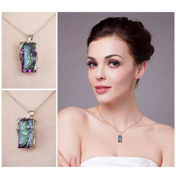 M RAINBOW MYSTIC TOPAZ PENDANT NECKLACE【Cash On Delivery】 - Yinaje