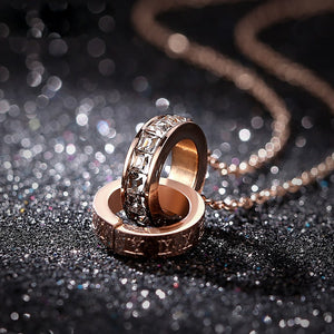 M Rose Gold Double Ring With Diamond Clavicle Necklace【Cash On Delivery】 - Yinaje