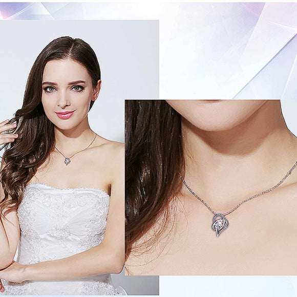 M 925 Pure Silver Love Hollow Diamond Zircon Necklace【Cash On Delivery】 - Yinaje