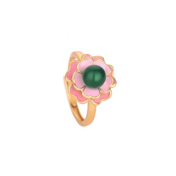 K Camellia Agate Chalcedony Ring(COD)