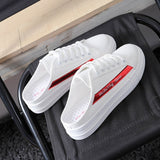 M 2019 Non-heel Half Slippers Small White  Breathable Shoes(COD) - Yinaje