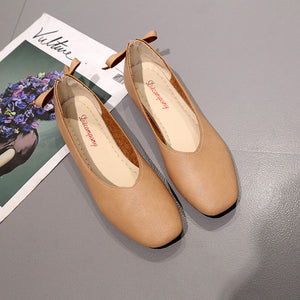 E 2018 new ladies square head flat shoes【Cash On Delivery】 - Yinaje