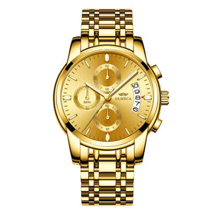 M Multifunctional Gold Steel Belt Men's Business Watch【Cash On Delivery】 - Yinaje