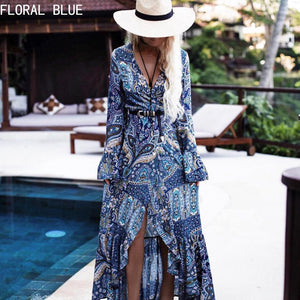 M Explosions European Style Bohemian Dress Beach Jacket Long-sleeved Women Dress【Cash on delivery】 - Yinaje