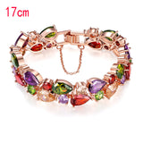 M Zircon Colorful Earrings Necklace Bracelet Three-Piece Set - Yinaje