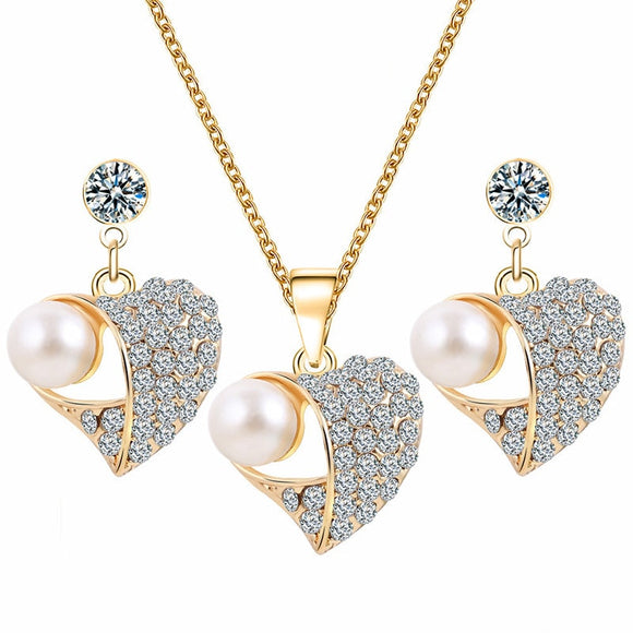 M (3 pcs)S925 Silver Love Diamond Necklace + Earrings(COD) - Yinaje